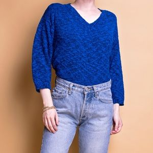 Vintage 80s blue boucle nubby knit v neck sweater